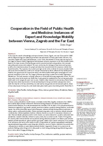 Cooperation in the Field of Public Health and Medicine: Instances of Expert and Knowledge Mobility between Vienna, Zagreb and the Far East / Željko Dugac