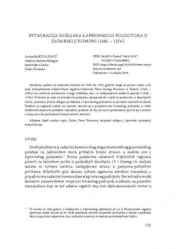 Integracija došljaka s Apeninskog poluotoka u zadarskoj komuni (1365.-1374.) / Anita Bartulović