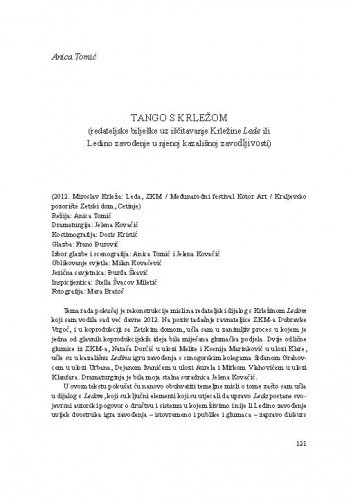 Tango s Krležom : (redateljske bilješke uz iščitavanje Krležine Lede ili Ledino zavođenje u njenoj kazališnoj zavodljivosti) / Anica Tomić