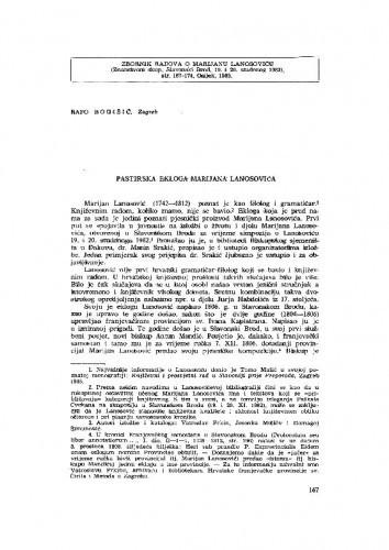 Pastirska ekloga Marijana Lanosovića. Ecloga . . .Domino Antonio Mandich / R. Bogišić