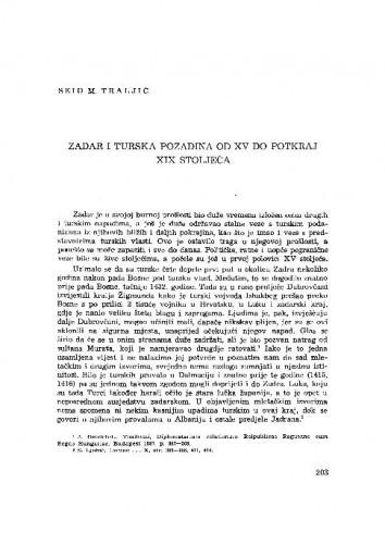 Zadar i turska pozadina od XV do potkraj XIX stoljeća / Seid M. Traljić