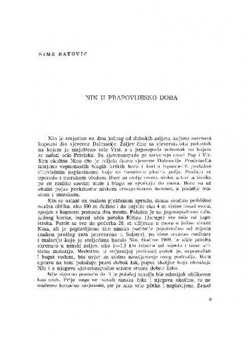 Nin u prapovijesno doba / Šime Batović