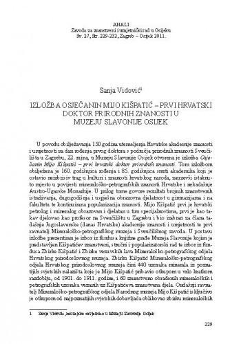 Izložba Osječanin Mijo Kišpatić - prvi hrvatski doktor prirodnih znanosti u Muzeju Slavonije Osijek / Sanja Vidović
