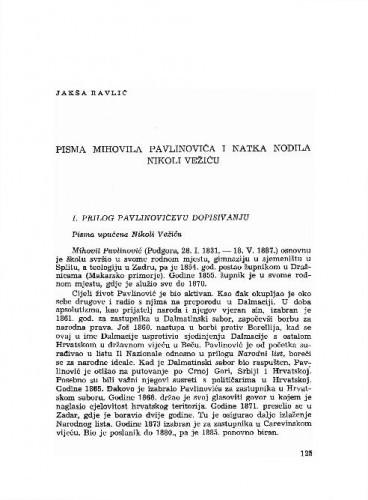 Pisma Mihovila Pavlinovića i Natka Nodila Nikoli Vežiću / Jakša Ravlić