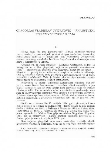 Glagoljaš Vladislav Cvitanović - znanstveni istraživač svoga kraja / Vjekoslav Maštrović
