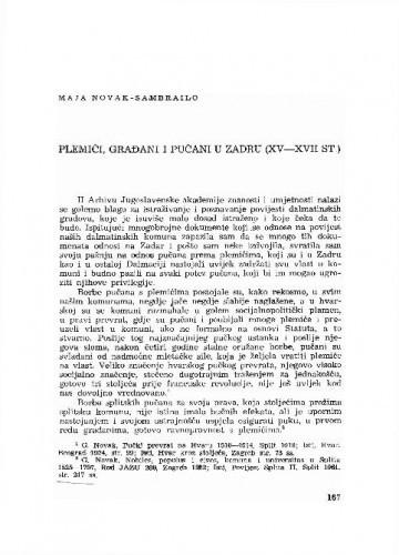 Plemići, građani i pučani u Zadru : (XV-XVII st.) / Maja Novak-Samrailo