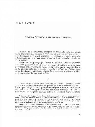 Lovro Sitović i narodna pjesma / Jakša Ravlić