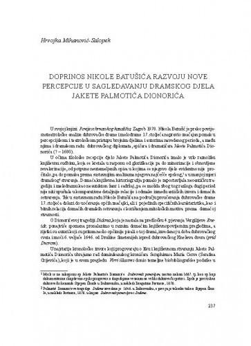Doprinos Nikole Batušića razvoju nove percepcije u sagledavanju dramskog djela Jakete Palmotića Dionorića / Hrvojka Mihanović-Salopek