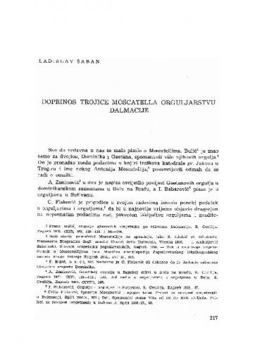 Doprinos trojice Moscatella orguljarstvu Dalmacije / Ladislav Šaban