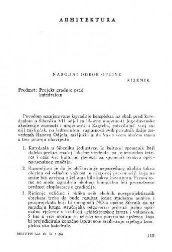 Pismo Narodnom odboru Općine Šibenik