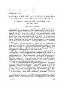 Genetska istraživanja genus bastarda Triticum vulgare x Secale cereale : I. Proučavanje transgresije nekih svojstava klasa i vlati / M. Kump