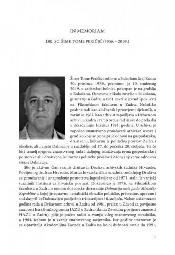 In memoriam : Dr. sc. Šime Tome Peričić (1936.-2019.) / Tado Oršolić