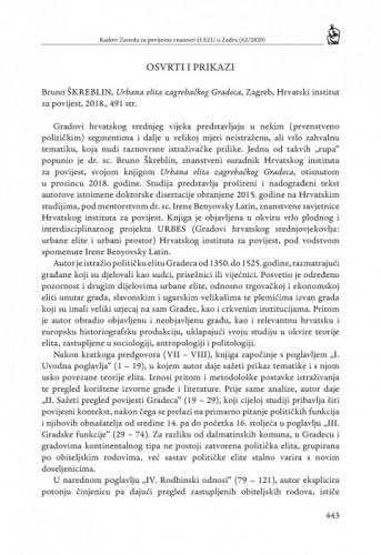 Bruno Škreblin, Urbana elita zagrebačkog Gradeca, Zagreb, Hrvatski institut za povijest, 2018. : [prikaz] / Ante Bećir