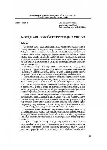 Novije arheološke spoznaje o Rudini / Željko Tomičić