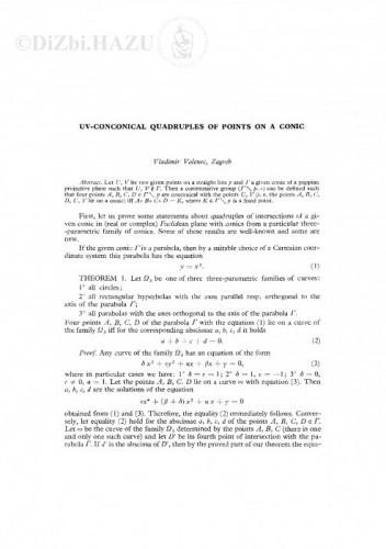 UV-conconical quadruples of points on a conic / V. Volenec