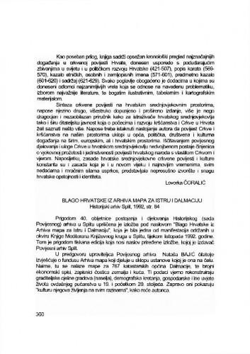 Blago Hrvatske iz arhiva mapa za Istru i Dalmaciju, Split, 1992. / Šime Peričić