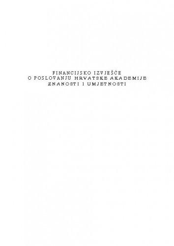 Izvješće o financijskom poslovanju Hrvatske akademije znanosti i umjetnosti za godinu 2010.