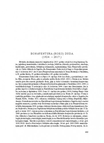 Bonaventura (Roko) Duda (1924.-2017.) : [nekrolog] / Franjo Šanjek