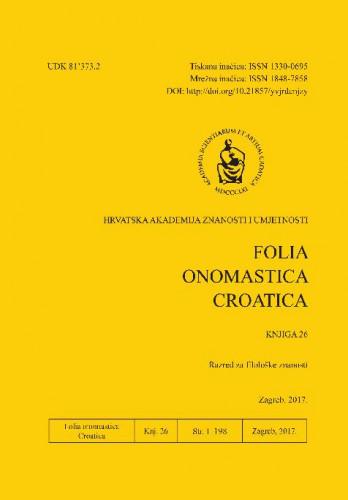 Knj. 26 (2017) : Folia onomastica Croatica