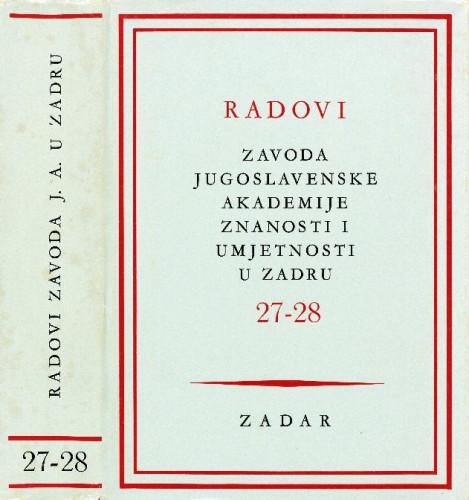 Sv. 27-28(1981) : Radovi Zavoda Jugoslavenske akademije znanosti i umjetnosti u Zadru