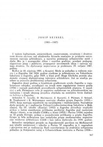 Josip Seissel (1901-1987) : [nekrolozi] / Drago Galić