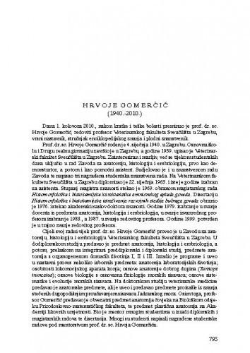 Hrvoje Gomerčić (1940.-2010.) : [nekrolog] / Snježana Vuković