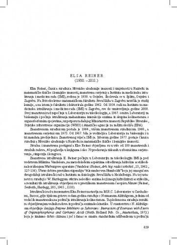 Elsa Reiner (1930.-2011.) : [nekrolog] / Mladen Žinić