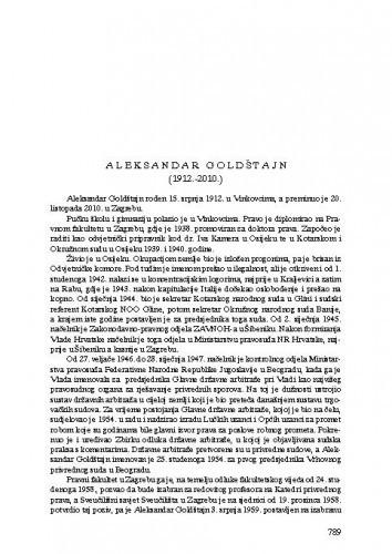 Aleksandar Goldštajn (1912.-2010.) : [nekrolog] / Jakša Barbić