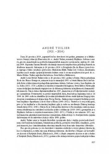 André Tuilier (1921.-2014.) : [nekrolog] / Henrik Heger Juričan