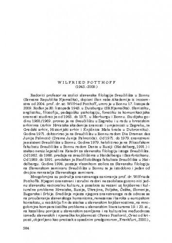 Wilfried Potthoff (1945.-2009.) : [nekrolog] / Nikola Batušić