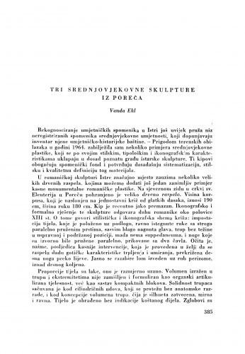 Tri srednjovjekovne skulpture iz Poreča / V. Ekl
