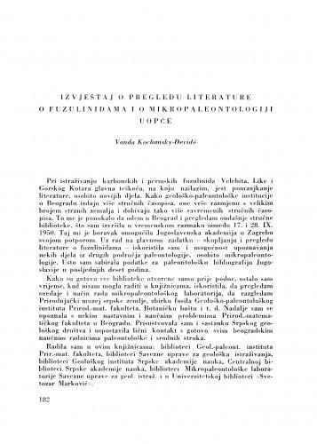 Izvještaj o pregledu literature o fuzulinidama i o mikropaleontologiji uopće / V. Kochansky-Devidé