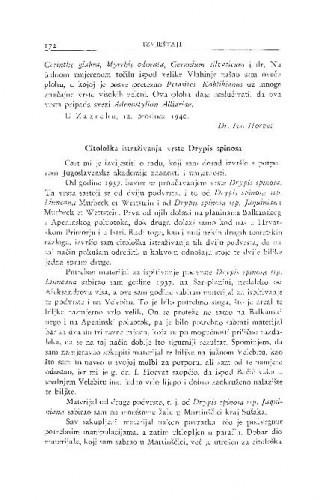 Citološka istraživanja vrste Drypis spinosa / B. Varićak