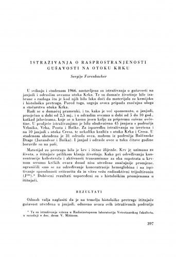 Istraživanja o rasprostranjenosti gušavosti na otoku Krku / S. Forenbacher