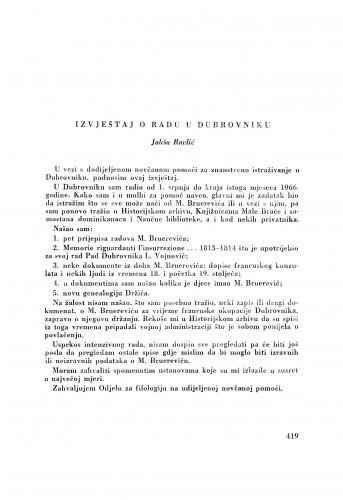 Izvještaj o radu u Dubrovniku / J. Ravlić