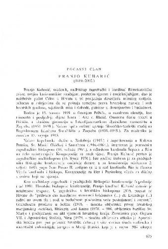 Franjo Kuharić (1919.-2002.), počasni član : [in memoriam] / Franjo Šanjek