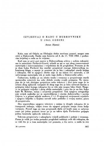 Izvještaj o radu u Dubrovniku u 1965. godini / A. Djamić