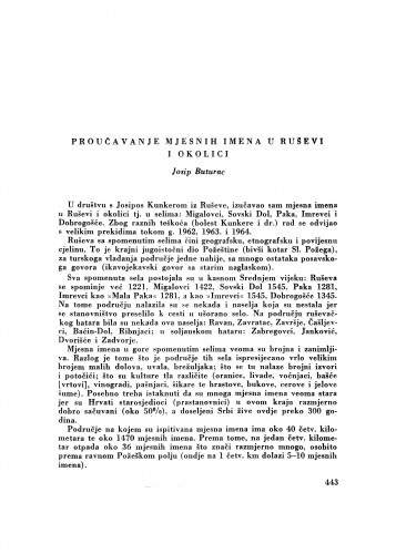 Proučavanje mjesnih imena u Ruševi i okolici : [izvještaji i rasprave] / J. Buturac