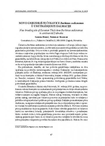 Novo gnjezdilište ćukavice Burhinus oedicnemus u unutrašnjosti Dalmacije : [short note] / Sandra Hodić, Tomislav Klanfar