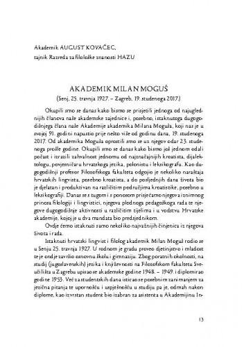 Akademik Milan Moguš : (Senj, 25. travnja 1927. - Zagreb, 19. studenoga 2017.) / August Kovačec