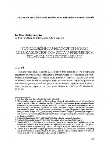 Javni bilježnici u Hrvatskoj nakon odluka Europskog suda u predmetima Pulaparking i Zulfikarpašić : [uvodno izlaganje] / Iva Kemec Kokot