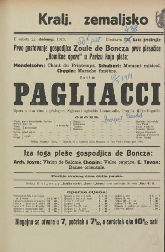 Pagliacci : Opera u dva čina sa prologom