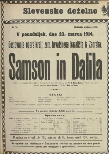 Samson in Dalila : Opera v treh dejanjih (štirih slikah)