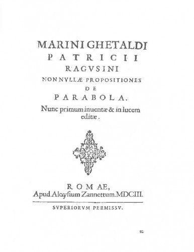 Marini Ghetaldi ... Nonnullae propositiones de parabola