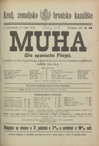Muha : Lakrdija u tri čina  =  Die spanische Fliege
