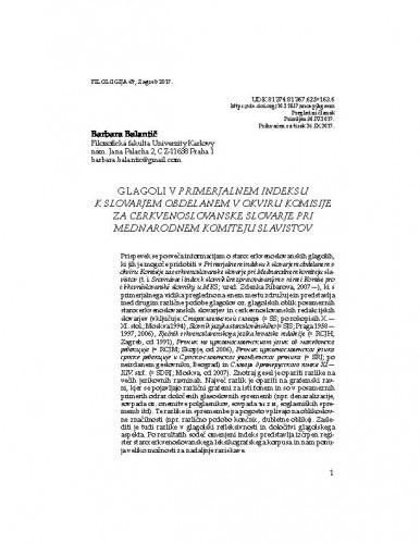 Glagoli v Primerjalnem indeksu k slovarjem obdelanem v okviru komisije za cerkvenoslovanske slovarje pri mednarodnem komiteju slavistov / Barbara Balantič