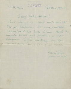 Pismo Naste Rojc Antunu Ullrichu, Zagreb, Rokov perivoj 6, 25.11.1927.