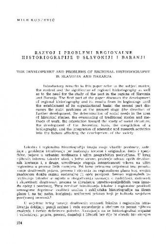 Razvoj i problemi regionalne historiografije u Slavoniji i Baranji