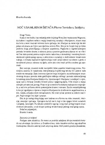 Noć usamljenih jahača : pismo Tomislavu Sabljaku