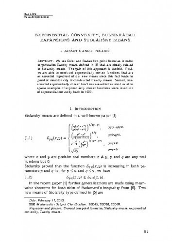 Exponential convexity, Euler-Radau expansions and Stolarsky means